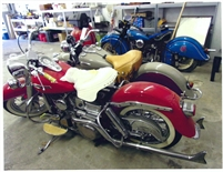 1965 Harley Davidson Panhead and 1940 Indian Sports Scout